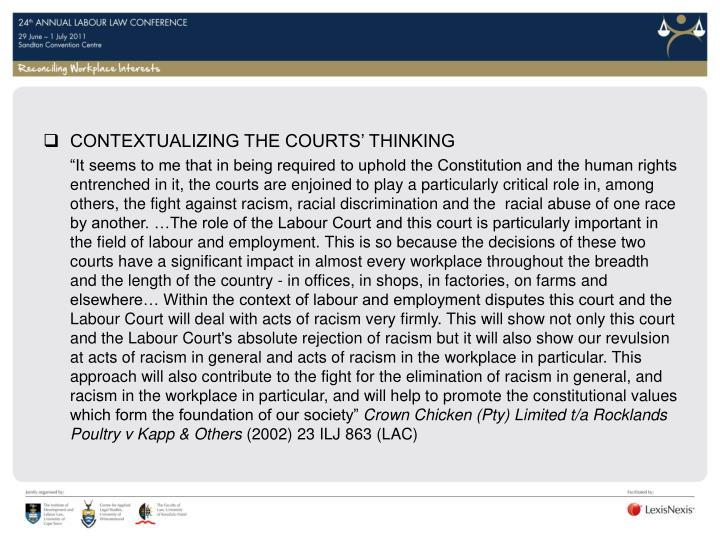 CONTEXTUALIZING THE COURTS' THINKING