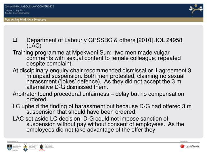 Department of Labour v GPSSBC & others [2010] JOL 24958 (LAC)
