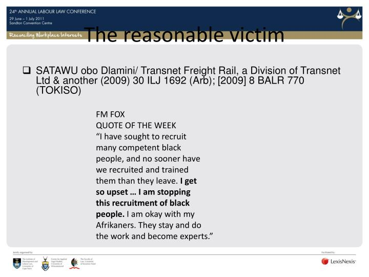 The reasonable victim