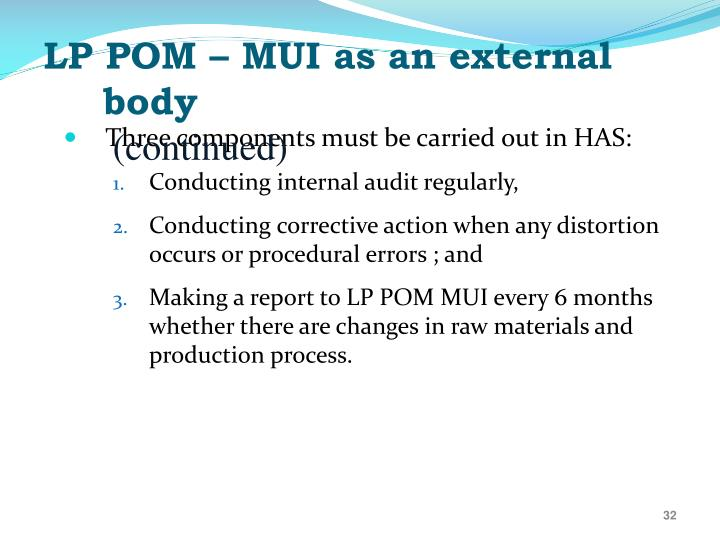 LP POM – MUI as an external body