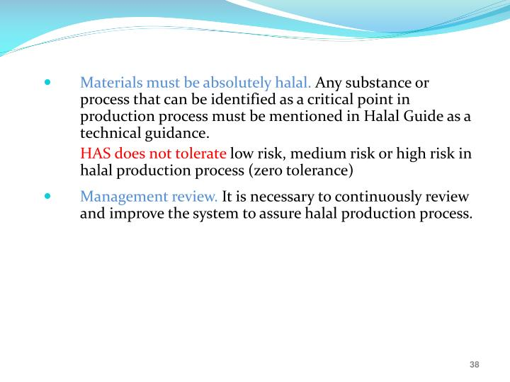 Materials must be absolutely halal.
