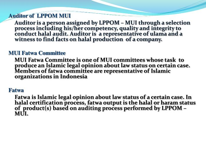 Auditor of  LPPOM MUI