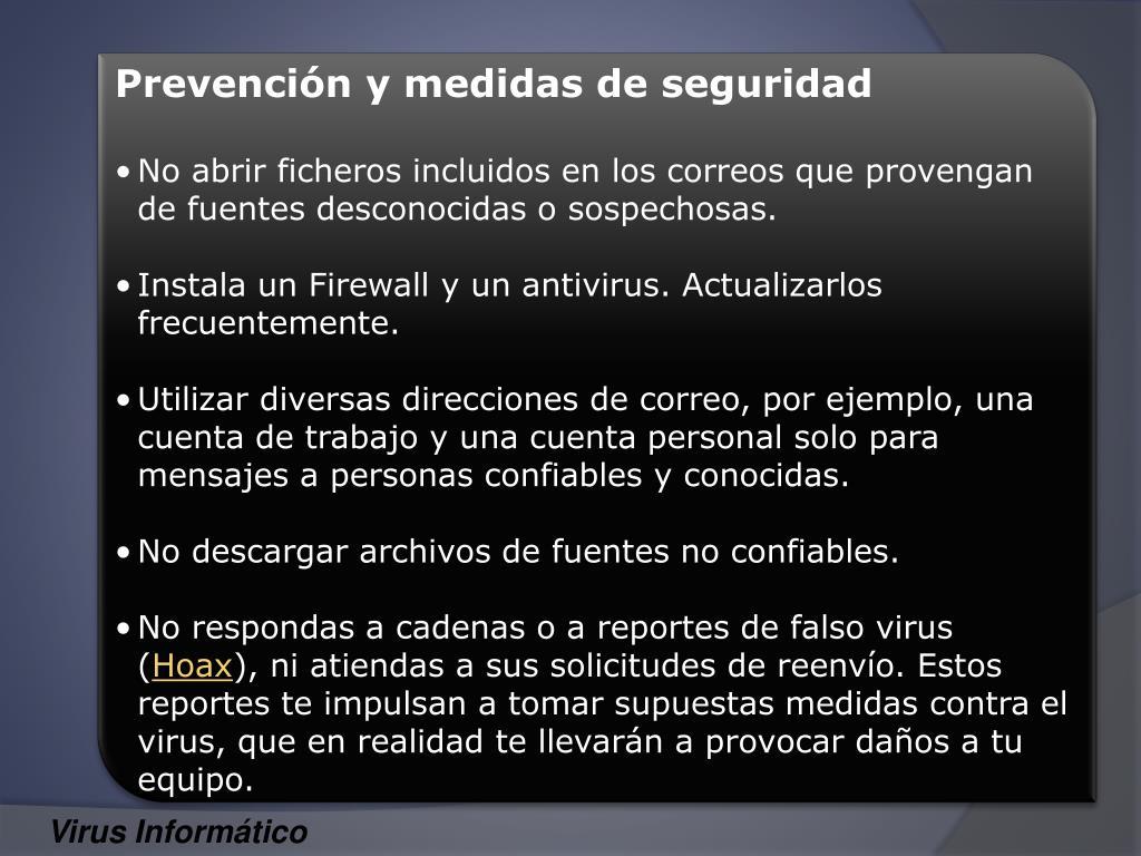 Prevención y medidas de seguridad