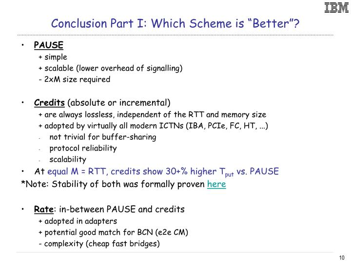 "Conclusion Part I: Which Scheme is ""Better""?"