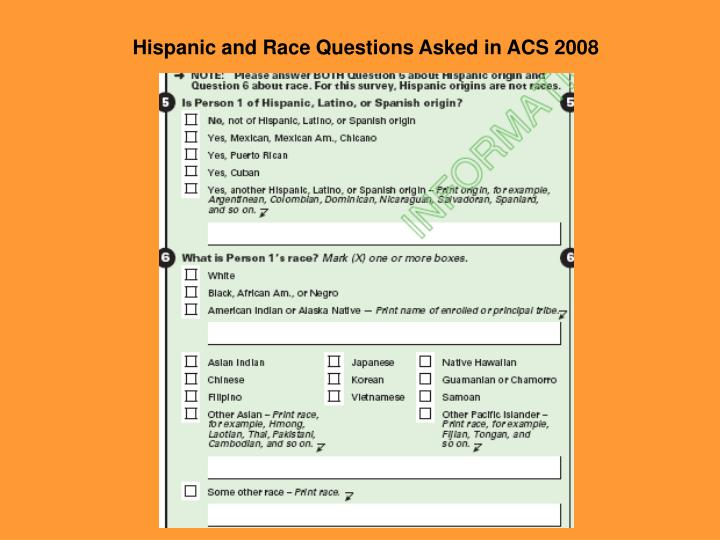 Hispanic and Race Questions Asked in ACS 2008