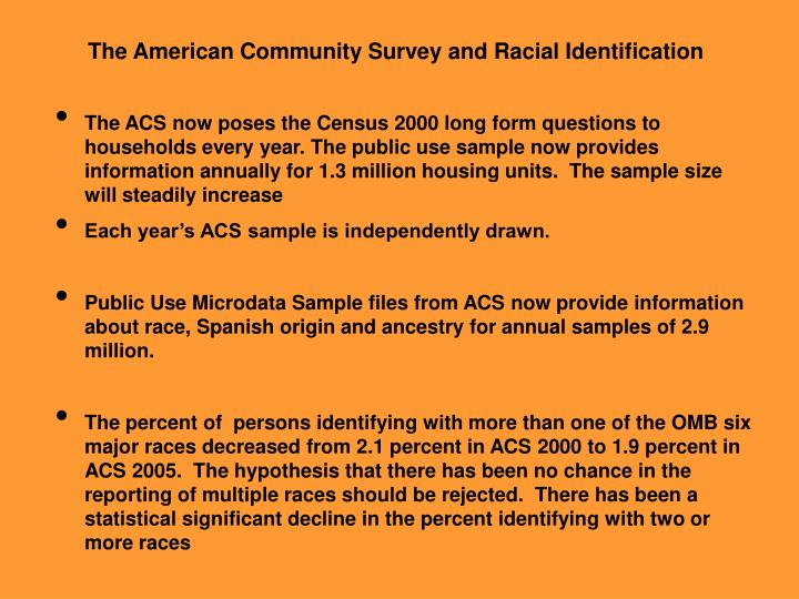 The American Community Survey and Racial Identification