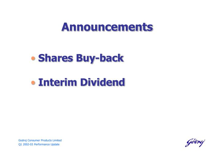Dividend policy of godrej consumer products