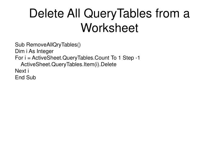 Delete All QueryTables from a Worksheet