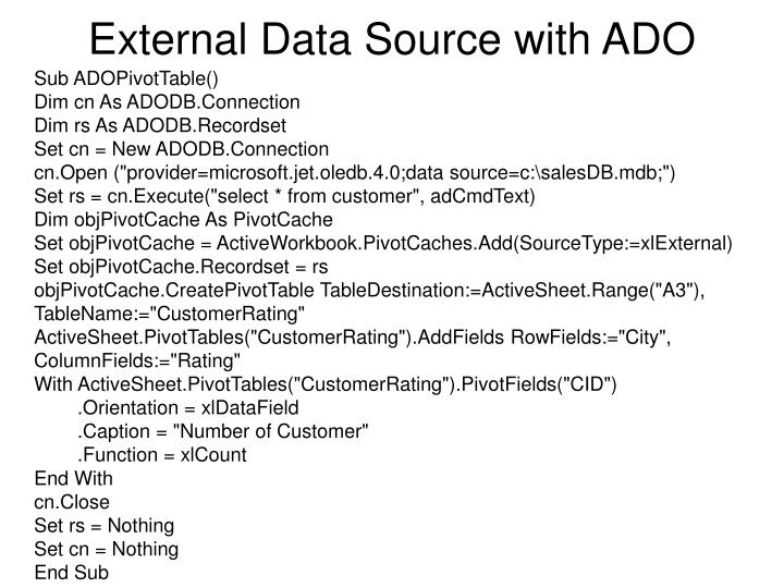 External Data Source with ADO