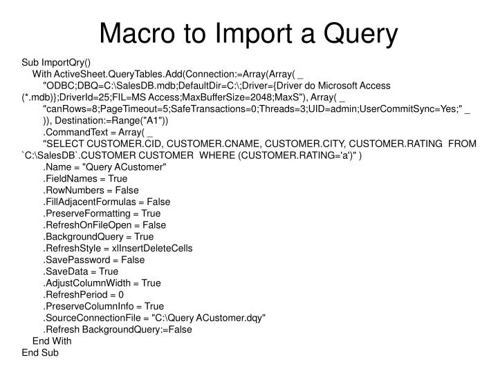 Macro to Import a Query