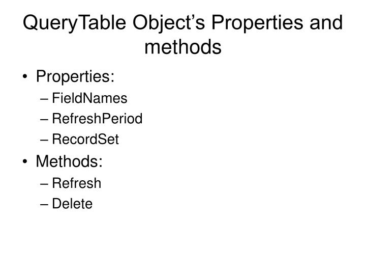 QueryTable Object's Properties and methods