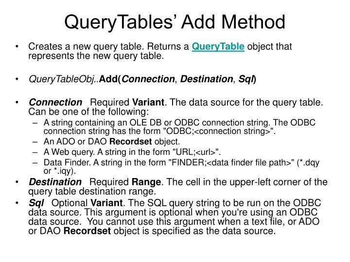 QueryTables' Add Method
