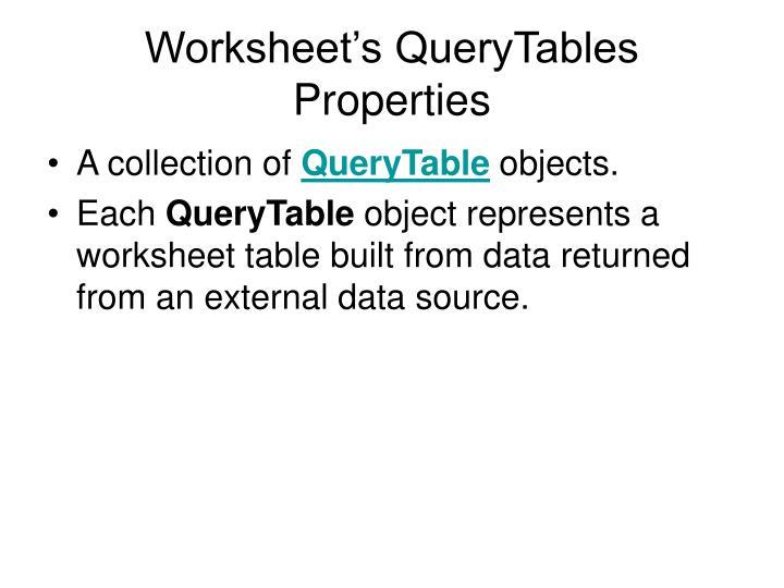 Worksheet's QueryTables Properties