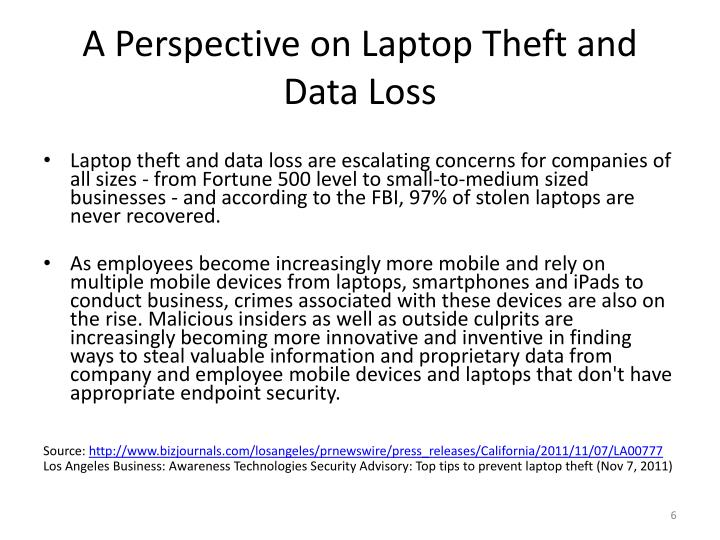 A Perspective on Laptop Theft and Data Loss