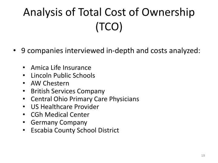 Analysis of Total Cost of Ownership (TCO)