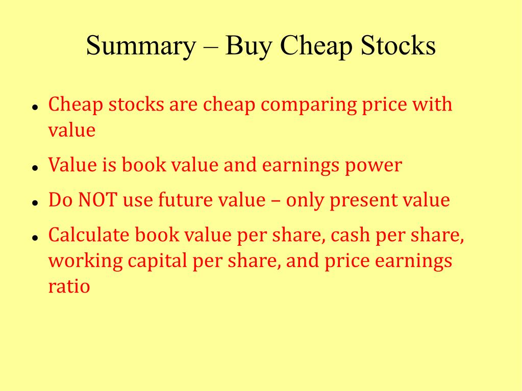 Summary – Buy Cheap Stocks