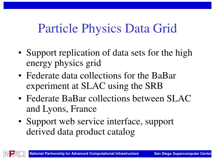 Particle Physics Data Grid