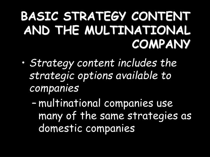Basic strategy content and the multinational company