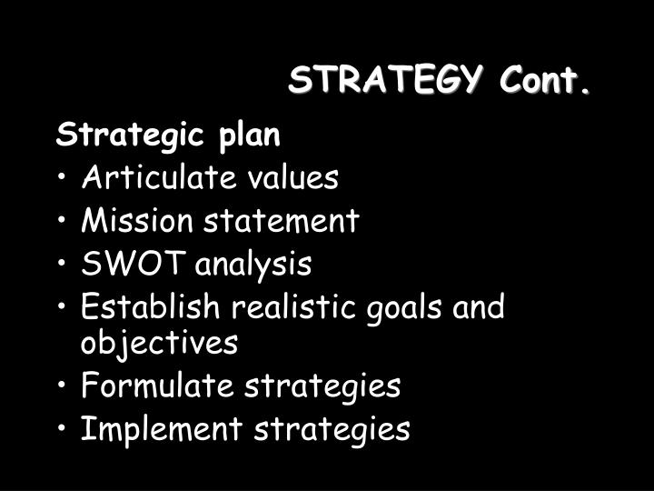 Strategy cont