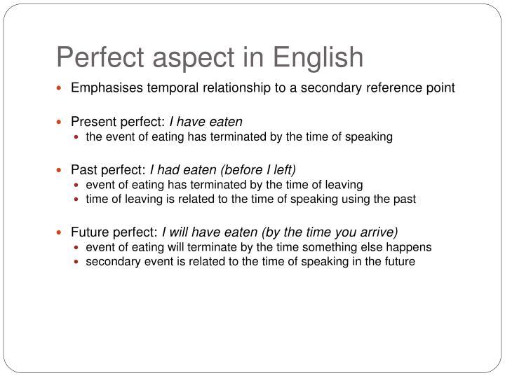 Perfect aspect in English