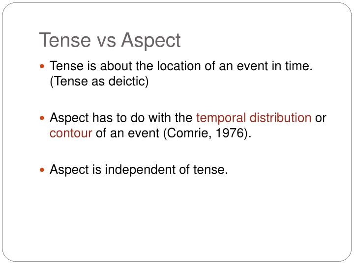 Tense vs Aspect