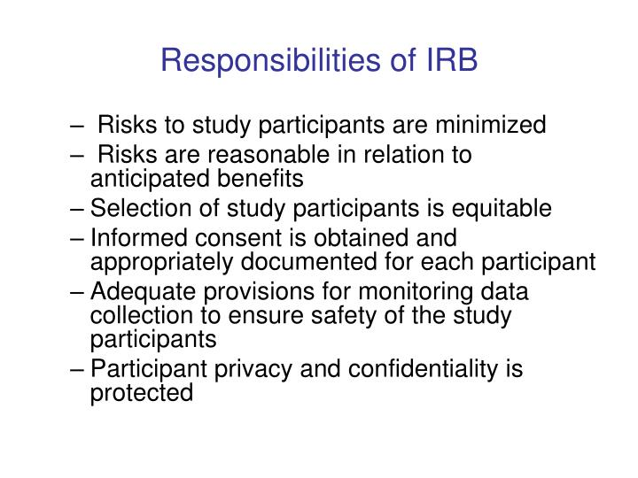 Responsibilities of IRB