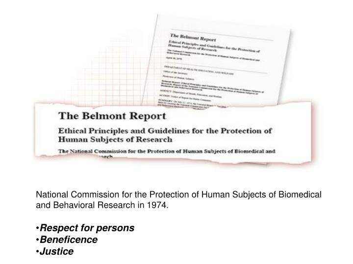 National Commission for the Protection of Human Subjects of Biomedical and Behavioral Research in 1974.