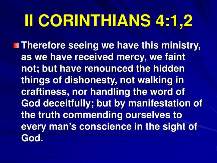 II CORINTHIANS 4:1,2