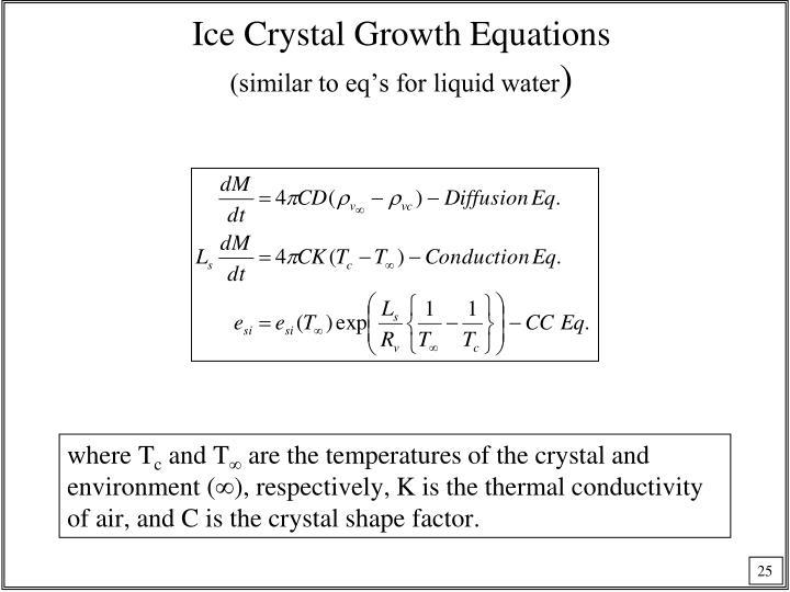 Ice Crystal Growth Equations