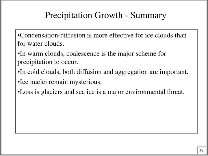 Precipitation Growth - Summary
