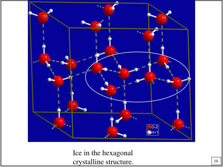 Ice in the hexagonal crystalline structure.