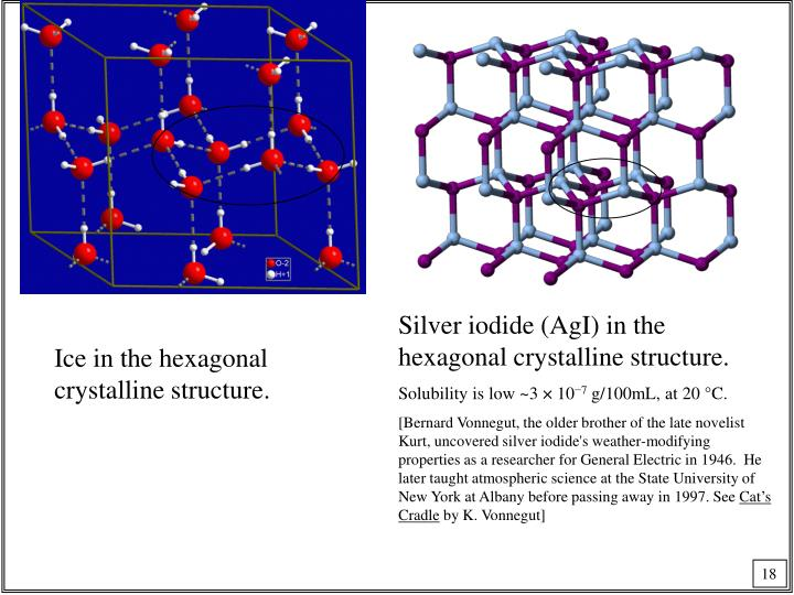 Silver iodide (AgI) in the hexagonal crystalline structure.