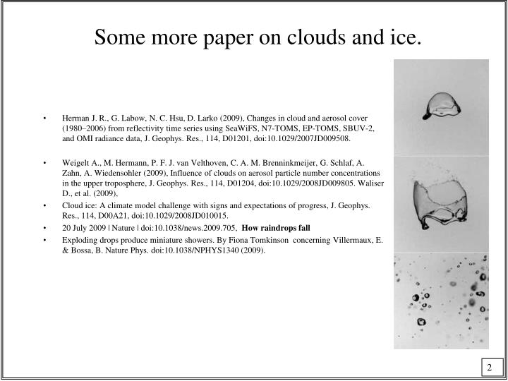Some more paper on clouds and ice.
