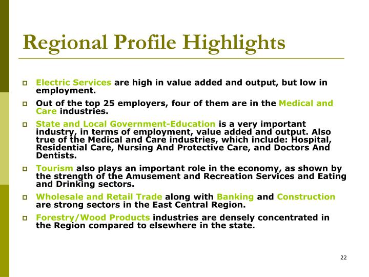 Regional Profile Highlights