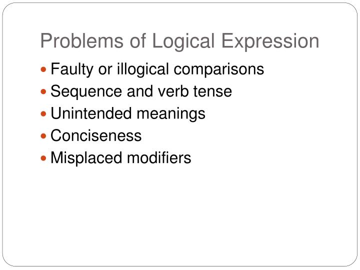 Problems of Logical Expression