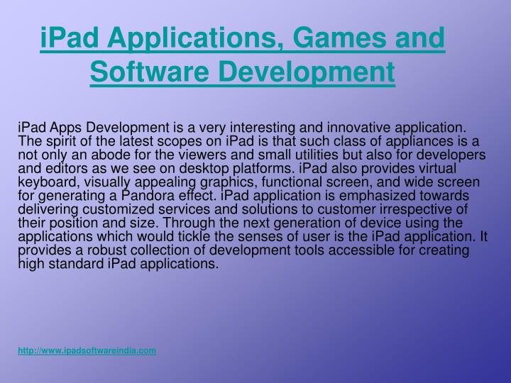 Ipad applications games and software development