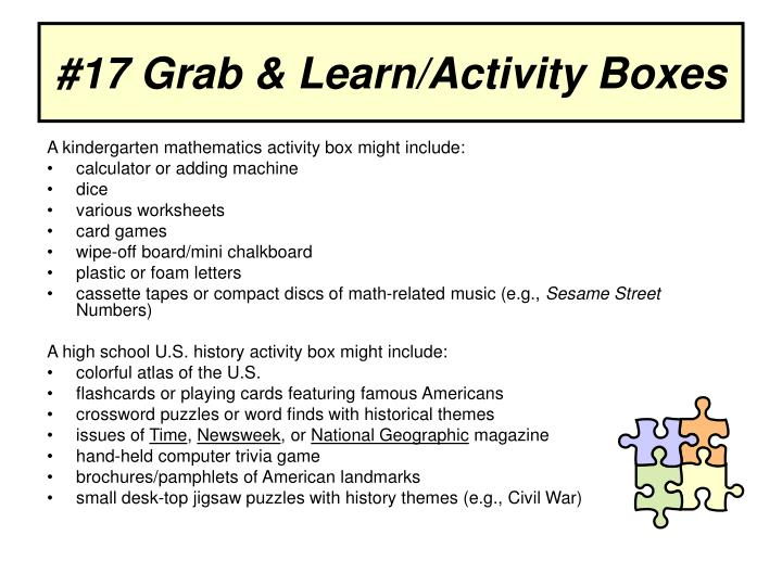 #17 Grab & Learn/Activity Boxes