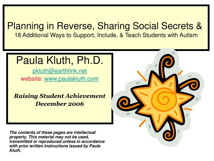Planning in Reverse, Sharing Social Secrets &