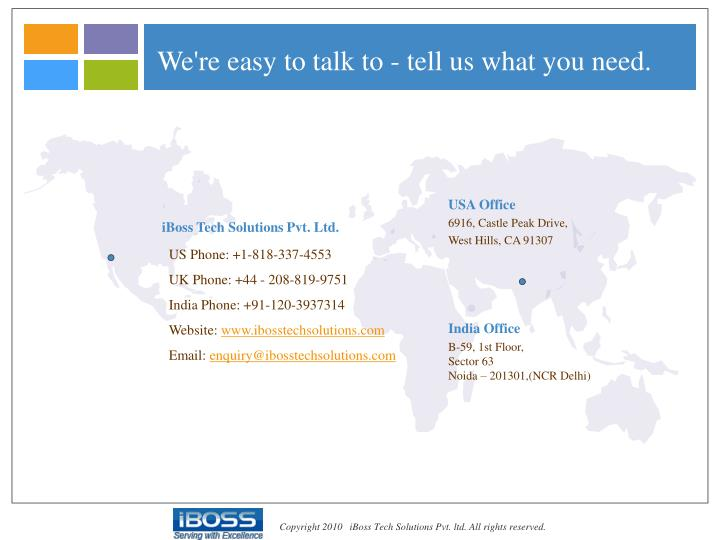 We're easy to talk to - tell us what you need.