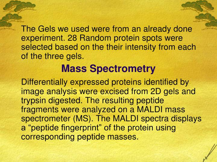 The Gels we used were from an already done experiment.