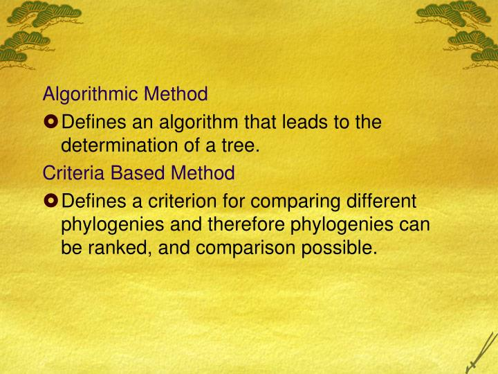 Algorithmic Method