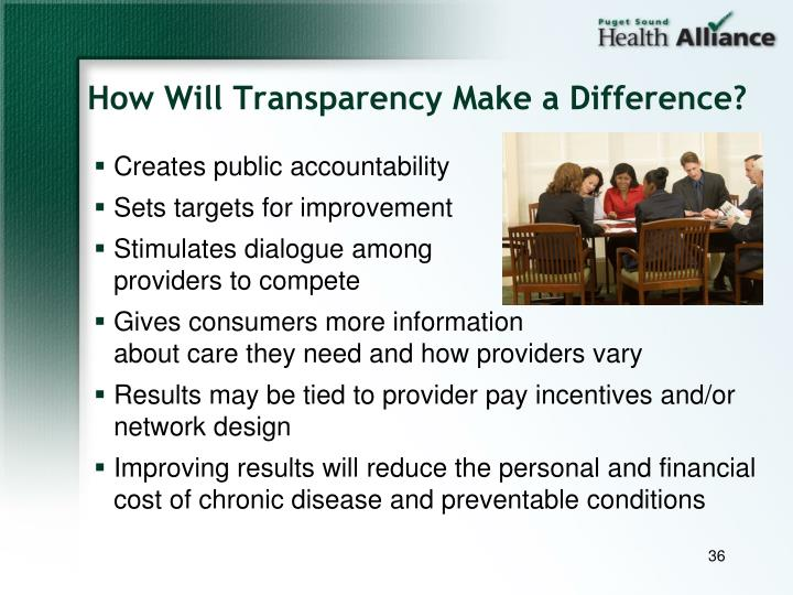 How Will Transparency Make a Difference?