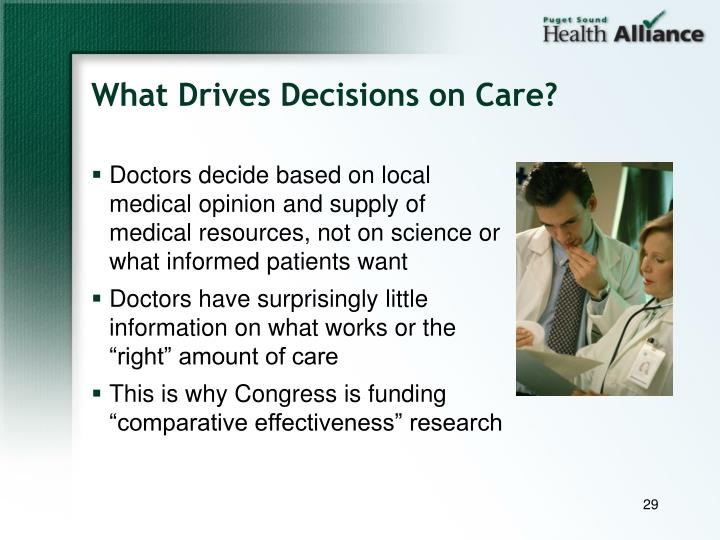 What Drives Decisions on Care?