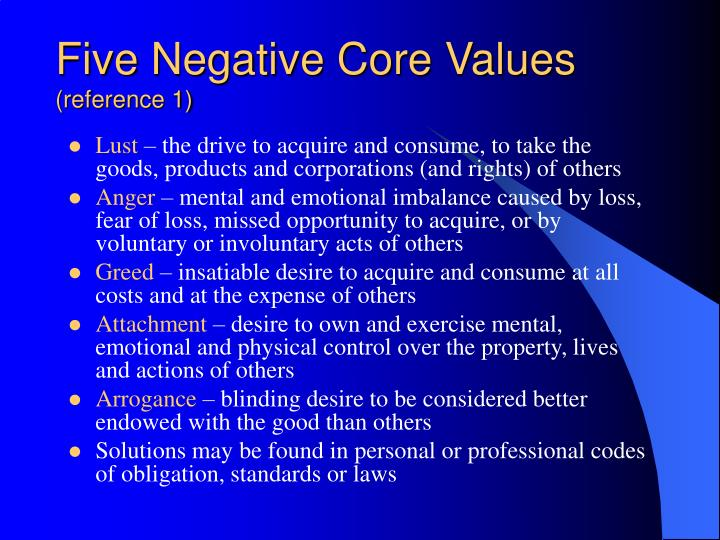 Five Negative Core Values