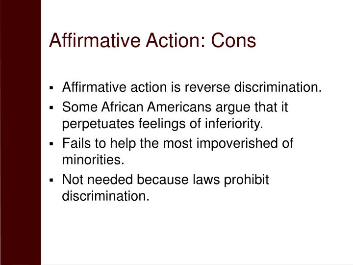 Affirmative Action: Cons