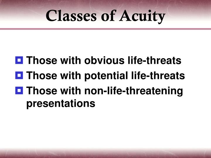 Classes of Acuity