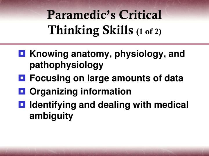 Paramedic's Critical