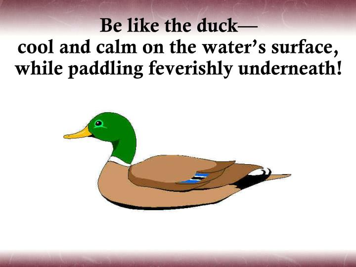 Be like the duck—