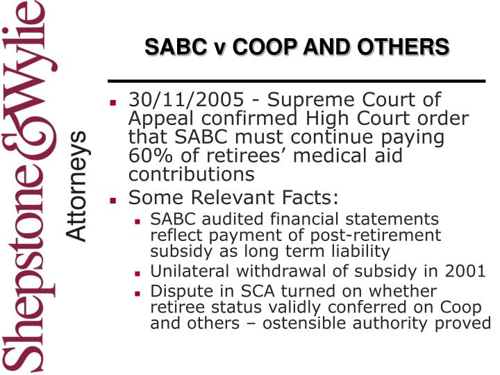 SABC v COOP AND OTHERS