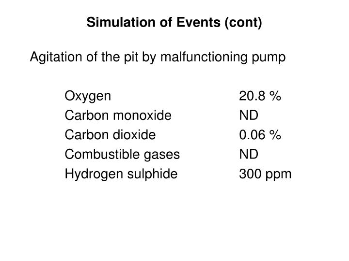 Simulation of Events (cont)
